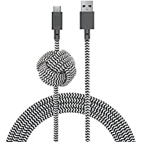 Native Union NIGHT Cable USB-A to USB-C - 10ft Ultra-Strong Reinforced Certified Charging/Sync Cable with Weighted Knot - Compatible with All USB Type-C Devices (Zebra)