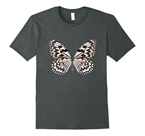 Mens Black And White Butterfly Graphic T-shirt XL Dark Heather Butterfly Graphic Tee