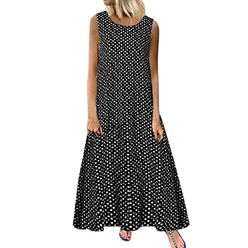 CCOOfhhc Women Dresses Retro Polka Dot Summer Sleeveless Tank Maxi Dress Crew Neck Casual Loose Swing Midi Dress Black