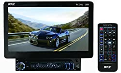 Pyle PLDNV105B 10.1-Inch Bluetooth and GPS Navigation Headunit Receiver, Motorized LCD Touch Screen Detachable Display, Aux Input