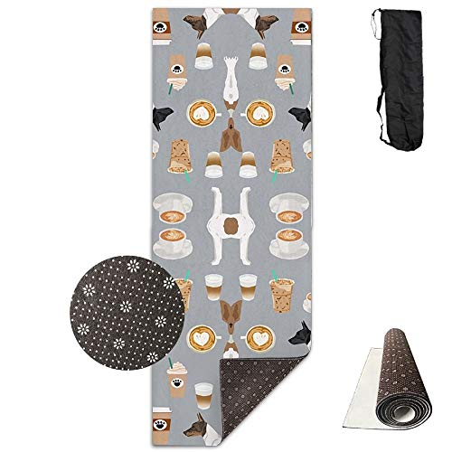 (Rat Terrier Dog Coffee Pattern,Yoga Towel Exercise Mat Non-Slip High Density Waterproof Yoga Mats Fitness)