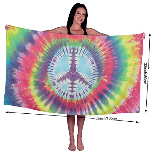 Tie Dye Peace Sign Microfiber Beach Towels - Travel, Compact Sports, Camping, Surf - Pool Towels - Sand Free, Quick Dry, Extra Absorbent (32 x 52 ()
