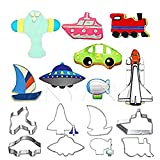 Anyana 8pcs/set Metal Stainless Steel Biscuits Cutters Lovely Transporation Series of UFO Airship Spaceship Plane Sailboat Train Yacht