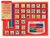 Melissa & Doug Wooden Favorite Things Stamp Set, Arts & Crafts, Sturdy Wooden Storage Box, Washable Ink, 26 Pieces, 26.543 cm H x 20.955 cm W x 4.064 cm L