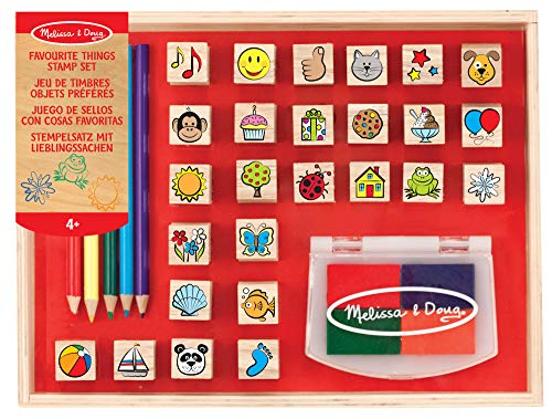 Doug Horses Stamp Set - Melissa & Doug Wooden Stamp Set, favourite Things - 26 Wooden Stamps, 4-colour Stamp Pad