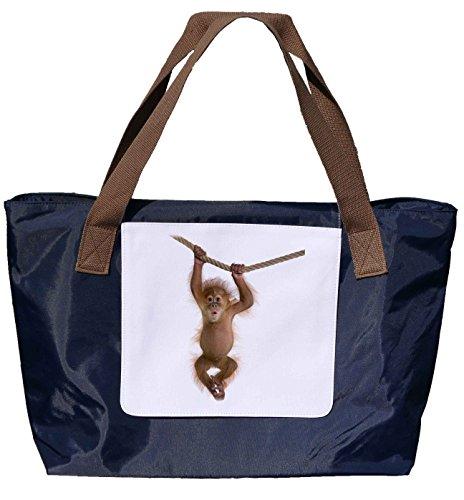 """Shopper /Schultertasche / Einkaufstasche / Tragetasche / Umhängetasche aus Nylon in Navyblau - Größe 43x33cm - Motiv: Orang Utan Jungtier hängt an einem Seil und sagt """"Oh!""""- 02"""