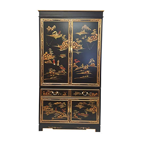 Oriental Armoire in Antique Black with Rich Gold Landscape (Black Armoire Lacquer)