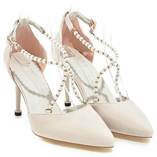 TAOFFEN D'Orsay Sandales Chaussures Bout Pointue pour Femmes Beige zLOeke9fX