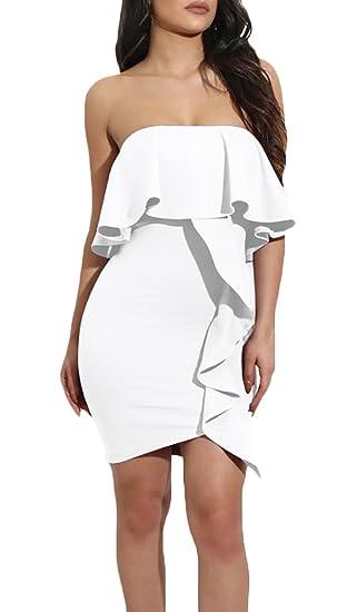 Vestido Fiesta Mujer Sin Mangas Hombros Descubiertos Bandeau Volantes Vestido Coctel Elegantes Fashion Slim Irregular Vestido