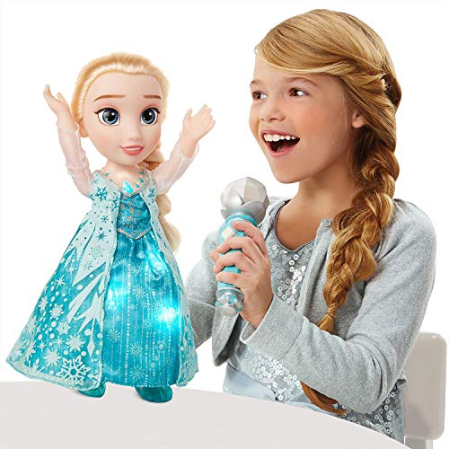 Evaxo Frozen Sing-A-Long Elsa Full-Length Award-Winning Song Let it Go Iconic Snow Queen Dress Magical Microphone can Recognize Who's Singing so You and Elsa can Sing-A-Long Together -  1234567