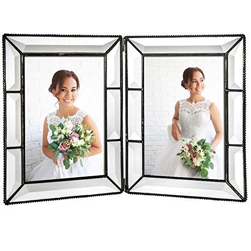 - J Devlin Pic 100-57-2 Double 5x7 Glass Picture Frame Tabletop Double Hinged Photo Frame Wedding Gift