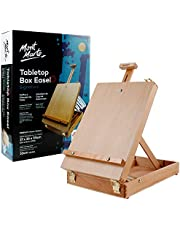 """Mont Marte Adjustable Table Top Wood Box Easel, Portable Art Sketch Easel for Painting, Holds Canvases up to 20.4""""in Height."""