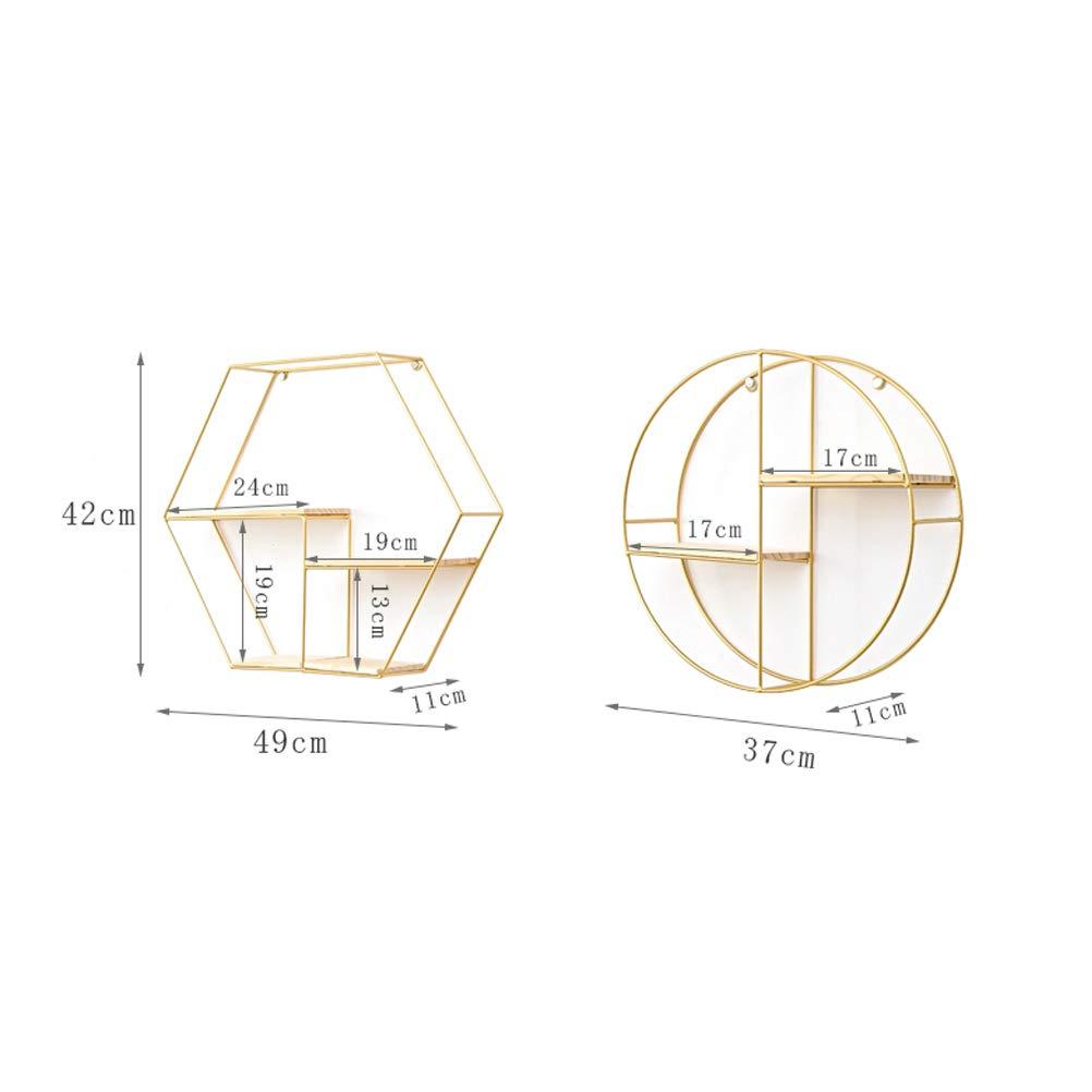 Design Esagonale con Base in Legno mensole sospese TOPBATHY per Decorazione di casa e Ufficio Oro mensole da Parete in Filo di Metallo