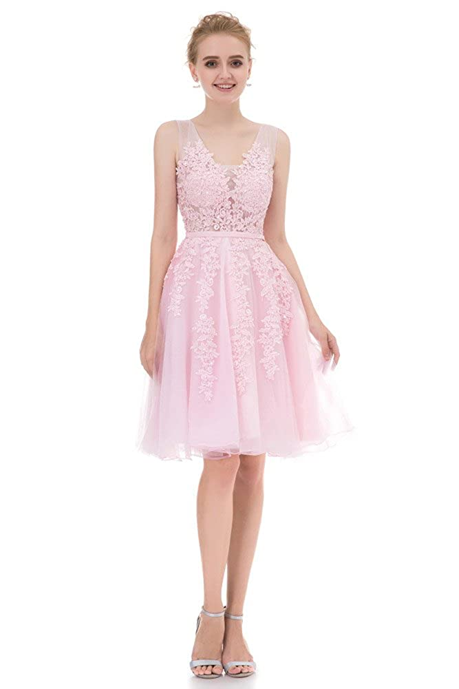 Amazon.com: Annadress Vestido corto de dama de honor vestido ...