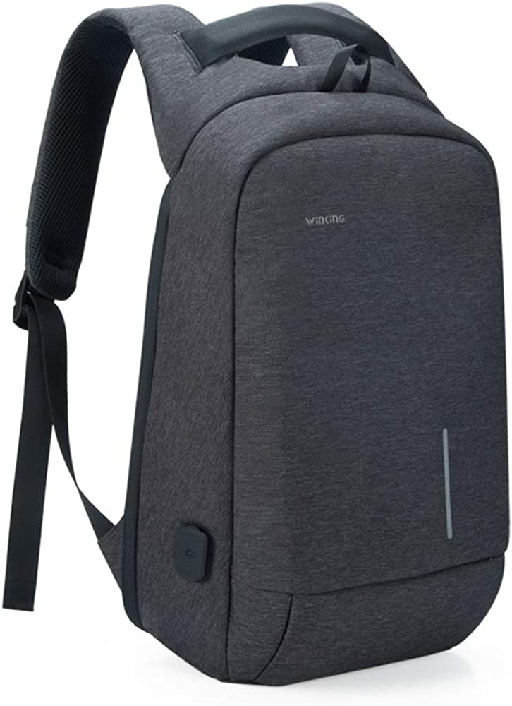 "Lightweight Traveling Small Laptop Backpack, Kingsons Business Travel Computer Bag Slim Laptop Rucksack 13.3"" with USB Charging Port Anti Theft Bag Water Resistant for 13.3-Inch Laptop Bag(Dark Grey"