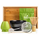 Tealyra - Matcha Kit - Connoisseur Ceremony Start Up Set - Premium Matcha Tea Powder - Japanese Made Black Bowl - Bamboo Whisk Scoop and Tray - Holder - Sifter