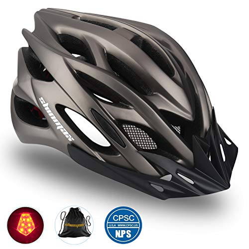 Shinmax Bike Helmet, CPSC Certified Adjustable Light Bicycle Helmet Specialized Cycling Helmet for Adult Men&Women Road and Mountain Bike Helmet with Visor&Rear Light