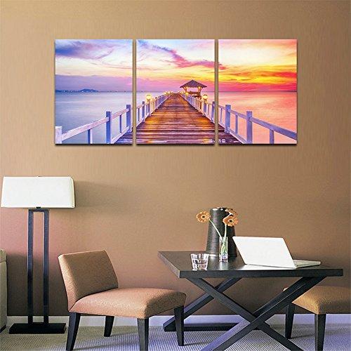 [해외]CyiohArt-3 패널 씨 뷰 벽 예술-롱 브리지 해변 화재 클라우드-캔버스 아트 홈 인테리어-30x40cm / CyiohArt - 3 Panel SeaView Wall Art - Longbridge Beach Fire Cloud - Canvas Art Home Decoration - 30x40cm