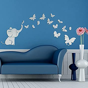 Amazon AlrensTM Cute Elephant Butterflies Acrylic Mirror