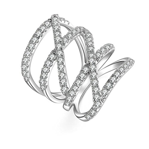 AmDxD Jewelry Silver Plated Women Promise Customizable Rings Crossover Hollow CZ Size 5.5 by AMDXD