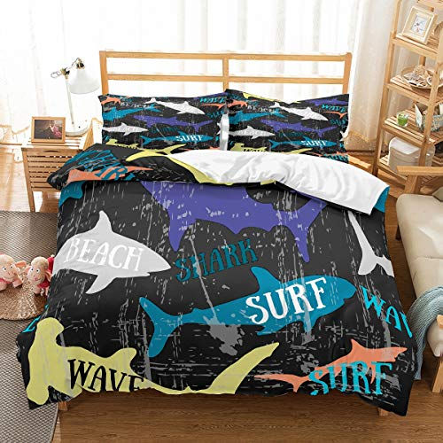 MouMouHome 3D Printed Surfing Sharks in Beach Duvet Cover Set with Blue/Orange/Purple/Yellow,Shark Twin Bedding Set 2 Pieces with 1 Pillowcase Bedding for Kids Boys Girls No Comforter (Surfing Baby Bedding)