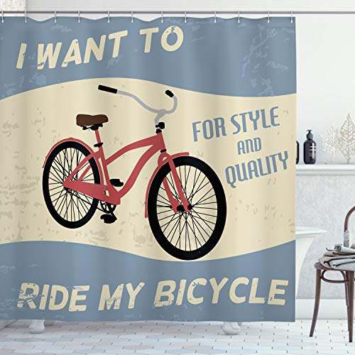 Ambesonne 1960s Shower Curtain, I Want to Ride My Bicycle for Style and Quality Joy Vintage Poster Art, Cloth Fabric Bathroom Decor Set with Hooks, 84