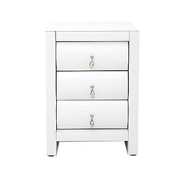 Warmiehomy , Nachttisch, Moderne Nachttisch Verspiegelt 3 Schubladen  Schlafzimmer Schrank Nachttisch Tisch Mit Kristall Griffe