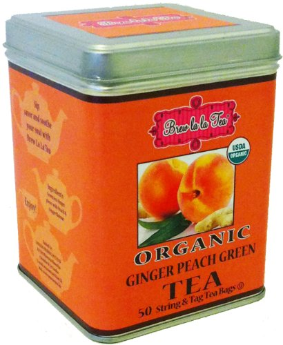 Brew La La Organic Ginger Peach Green Tea, 50 Bags, Pack of 2 (Ginger Peach Green Tea)
