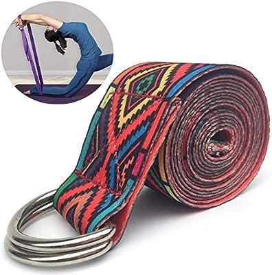 ZQSLD Yoga Cinturon - Correa Yoga Algodon para Mejores Estiramientos - Inturón De Estiramiento con Hebilla De Metal Ajustable,Rojo: Amazon.es: Hogar
