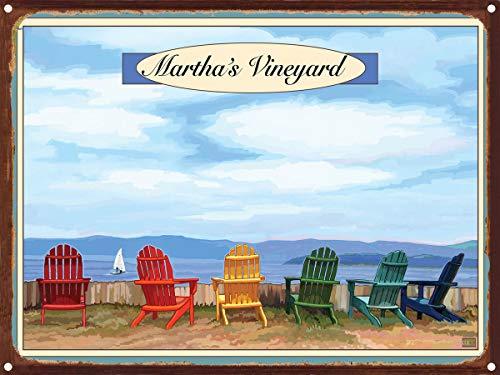 Martha's Vineyard Adirondack Chairs Boat Rustic Metal Art Print by Joanne Kollman (9