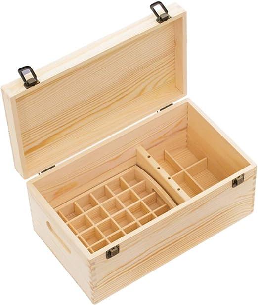 Estuches de Maquillaje Caja de Aceite Esencial Caja de Aceite Esencial Caja de Almacenamiento Caja de Aceite Esencial Doble Celosía de Madera de Pino Cajas y Sopor: Amazon.es: Hogar