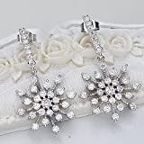 EleQueen 925 Sterling Silver Winter Snowflake Bridal Drop Earrings