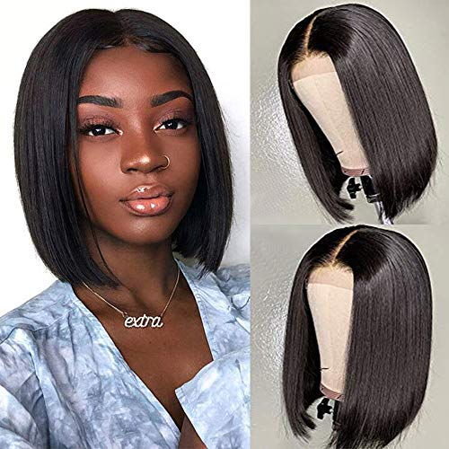URALL Hair 13x4 Pre Plucked Lace Front wigs human hair Brazilian Straight Hair Short Bob Wigs For Black Women Bleached Knots (12inch)