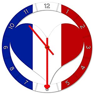 """metALUm - Premium wall clock """"flag France"""" in heartshape and with remarkable clock hands"""