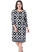 Chicwe Women's Printed Cashmere Touch Plus Size Dress 18, Grey