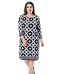 Chicwe Women's Cashmere Touch Printed Plus Size Shift Dress US12-28
