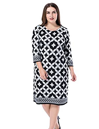 Chicwe Women's Plus Size Cashmere Touch Printed Shift Dress - Knee Length Work and Casual Dress Grey 16