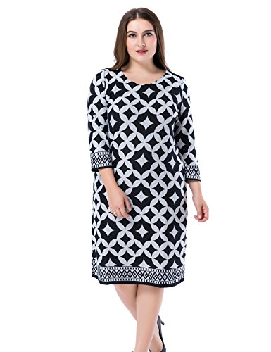Chicwe Women's Plus Size Cashmere Touch Printed Shift Dress - Knee Length Work and Casual Dress Grey 18