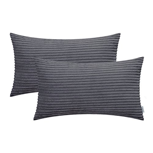 CaliTime Pack of 2 Cozy Bolster Pillow Covers Cases for Couch Sofa Bed Comfortable Supersoft Solid Corduroy Striped Both Sides 12 X 20 Inches Dark Grey