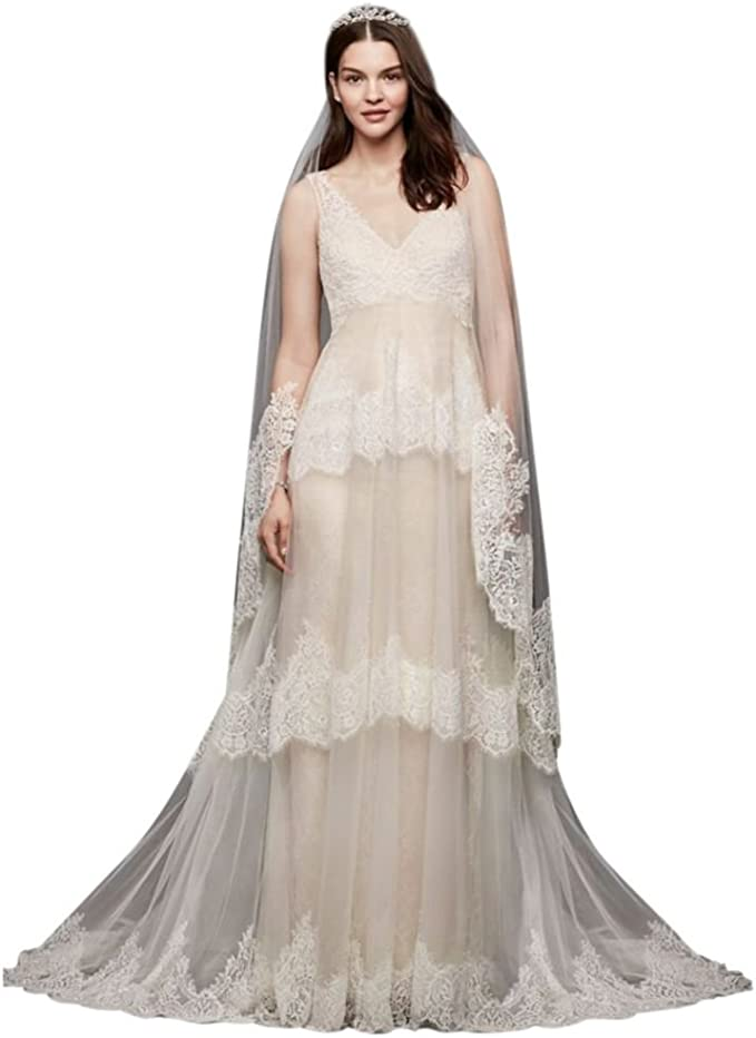 Sample As Is Banded Eyelash Lace Layered Wedding Dress