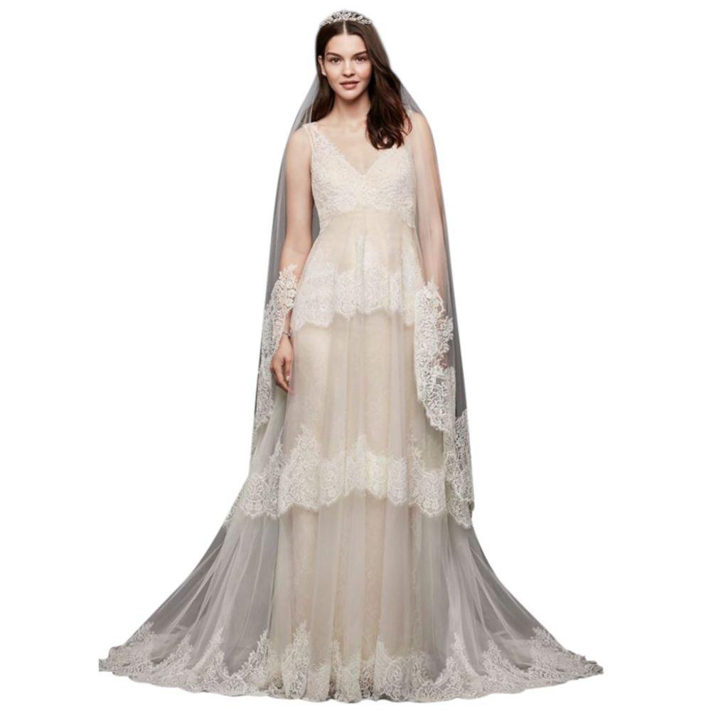 1acf2ea6f4c Sample  As is Banded Eyelash Lace Layered Wedding Dress Style AI25050130 at  Amazon Women s Clothing store