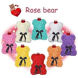 succeedtop Rose Bear Teddy Bear Cub Forever Artificial Rose Flower Teddy 9 Inch Gifts for Wedding Birthday Anniversary Valentine 31
