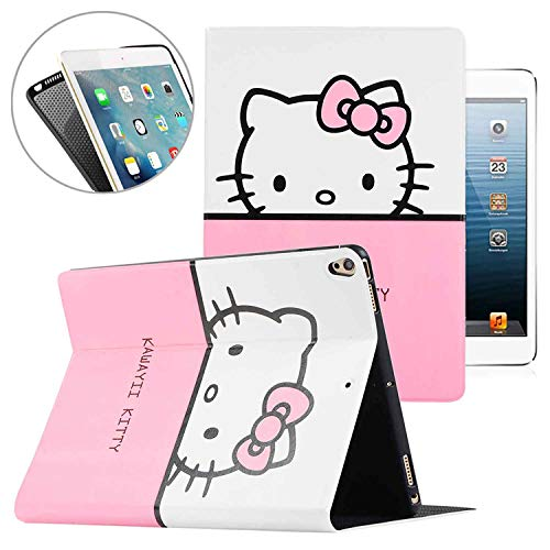 iPad Air 3rd 10.5'' 2019 / iPad Pro 10.5 Case,Cute Hello Kitty Pattern Folio Style Smart Cover, Pu Leather Soft TPU Back Case with Multi-Angle Stand & Auto Sleep/Wake (White)