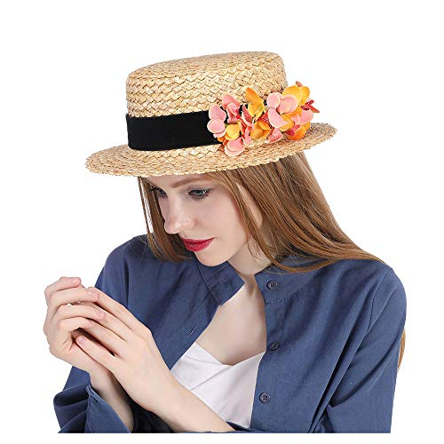 Amyannie Sun Hat Women Raffia Sun Hat Wide Top Hat Summer Wheat Straw Boater Hat Lady with Handmade Flower Sunbonnet Straw Hat (Color : Natural, Size : 56-58cm)