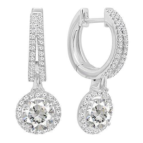 Diamond Fancy Drop - 14K White Gold 5.5 MM Each Round Cut Lab Created White Sapphire & White Diamond Dangling Earrings