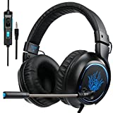 SADES New Arrival R5 Over-ear Stereo Noise-Reduction Base Gaming Headset Headband Headphones with Hifi Microphone Control-remote for PC Computers/PS4/New Xbox One/Mac/Tablets/Mobiles(Black)