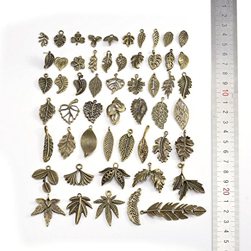 50Pcs Antique Brass Different Design leaves Charms For DIY Jewelry Making