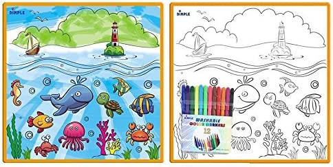 Kids Large Washable Coloring Play Mat with /'Fantastic Sea Life/' Design by Dimple