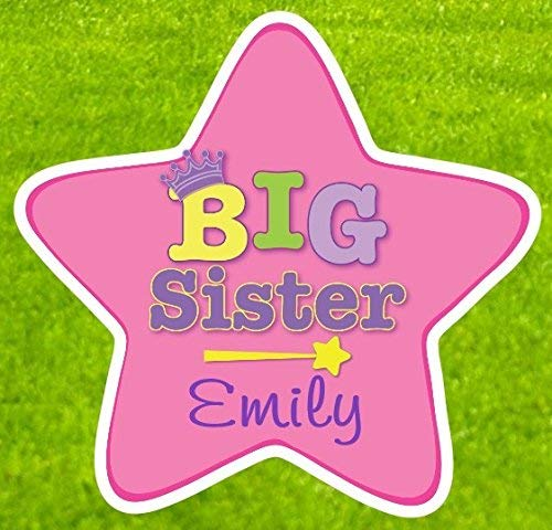 Cute News Custom Big Sister Sibling Announcement Gift - Personalize Star Sign Makes a Great Addition to the Yard Stork - Welcome Newborn Baby Lawn Shower Decoration - Pregnancy Reveal - Indoor/Outdoor