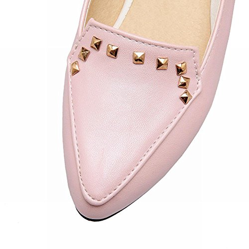 Show Shine Womens Chic Rivets Low Chunky Heel Pointed Toe Shoes Pink Cpqzn